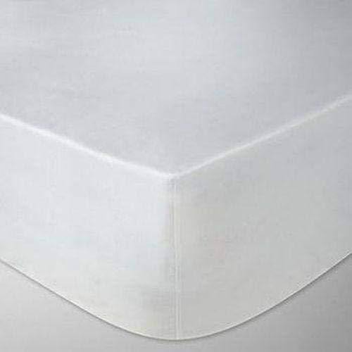 Linen Zone Sábana Bajera Ajustable de algodón Egipcio de 400 Hilos, Calidad de Hotel (Blanco, Emperador, 200 x 200 cm)
