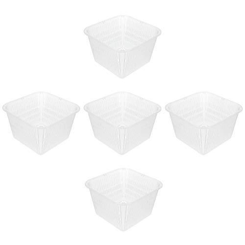 Cabilock 5 Piezas Macetas de Orquídeas Cuadradas Engrosadas Macetas de Orquídeas Transparentes con Agujeros Maceta de Plástico Maceta para Interior Exterior Blanco
