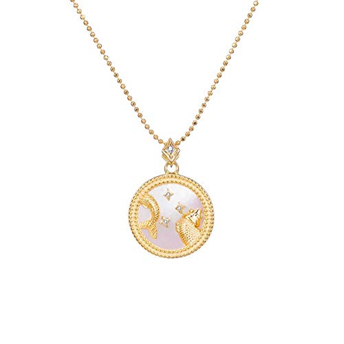 DRTWE Zodiac Necklace,Pisces Elegant Star Zodiac Sign 12 Constellations Necklaces Horoscope Pendants With Chain Charming White Color Choker Pendant Necklaces For Women Gift