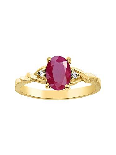 Juego de anillos de diamante y rubí chapados en oro amarillo y plata