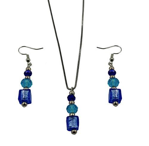Priann Gioielli - Juego de joyas para mujer con perlas de cristal de Murano original, collar de acero inoxidable, fabricado en Italia azul claro