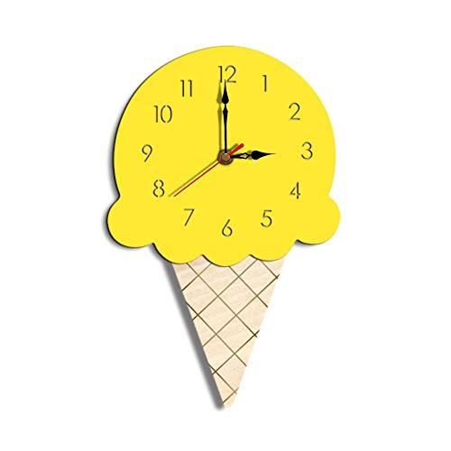 Reloj de diseño moderno, con forma de helado, adecuado para la decoración de la habitación. Fácil de instalar o quitar. Movimiento silencioso, te da una noche tranquila. Tamaño: 28cm x 18cm (aprox.) movimiento: cuarzo (batería) Perfecto para decorar ...