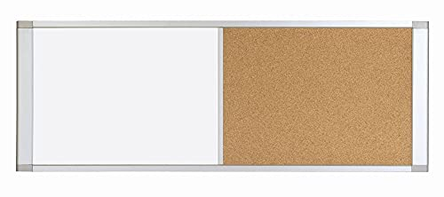 MasterVision Personal Cubicle Dry Erase White Board Bulletin Corkboard Combo, Magnetic, Extra Wide, 18' x 36', Aluminum Frame
