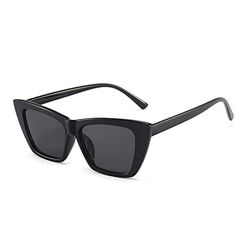FENGHUAN Gafas de Sol de Ojo de Gato pequeñas a la Moda para Mujer, Gafas de Color de gelatina Vintage para Hombre, Gafas de Sol Verdes Fluorescentes, Sombras, Negro, Gris