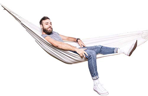 Cool Happy Things Brazilian Double Hammock - Outdoor/Indoor Cotton Fabric Cocoon Bed with Handmade Rope, Tree Straps, Portable Bag - Perfect for Porch, Patio, Bedroom, Backyard Garden (Playa Blanca)