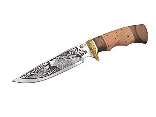 Messer handgemachtes Russisches Outdoor Jagdmesser Gürtelmesser -Leg- mit Klinge aus Edelstahl, Wolf-Gravur, edlem Holzgriff und Lederscheide, hochwertige Handarbeit aus Russland.