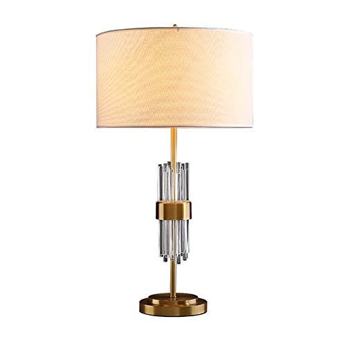 F.L.S Lamparas De Mesita De Noche Lamparas De Mesa Moderna lámpara de Cobre Completa Mesa de Cristal, lámpara de Noche, Sala de decoración de la lámpara de la lámpara Simple Estudio Dormitorio