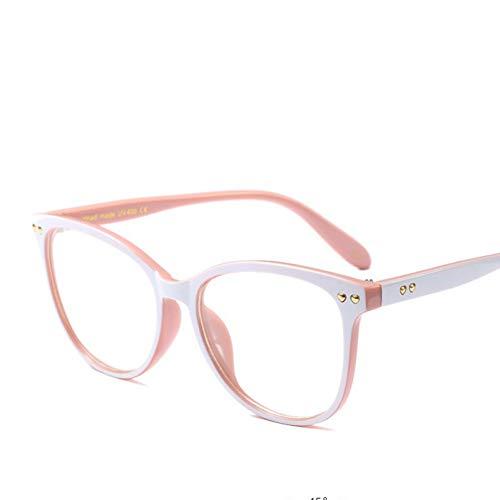 Wenkang Mode Damen Cat Eye Brillengestell Markendesigner Vintage Frauen Klare Linse Brillen Niet Rahmen Optische Gläser Weiß Rosa,D773 C5 weiß pink