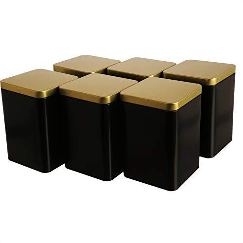 Dosenritter | 6 tarros rectangulares de metal para té de 240 g cada uno, color negro y dorado, 13 x 9 x 9 cm (alto, ancho, profundidad) | también ideal como bote para especias.