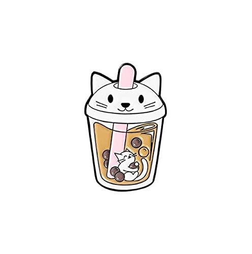 Divertido panda oso leche té esmalte Pin Cool Animal Broches bolsa solapa Pin Cartoon insignia joyería regalo para amigos