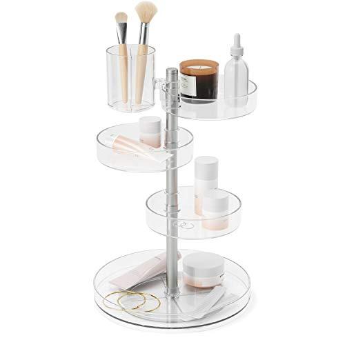 Umbra Pirouette Kosmetik Organizer mit drehbaren Fächern, Polystyrene, Transparent/Nickel, Einheitsgröße
