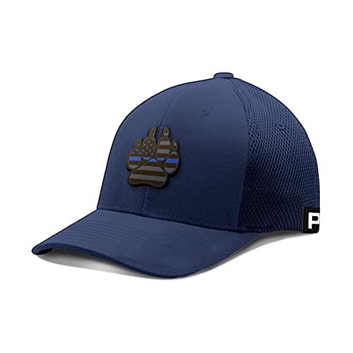Printed Kicks Thin Blue Line K9 Paw Leather Flexfit Hat K-9 Police Dog Unit Baseball Cap (Navy, Medium, m)