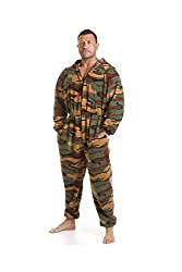 Camille Mens All In One Green Camouflage Print Fleece Pocketed Pajamas Onesie XS-XXXXL