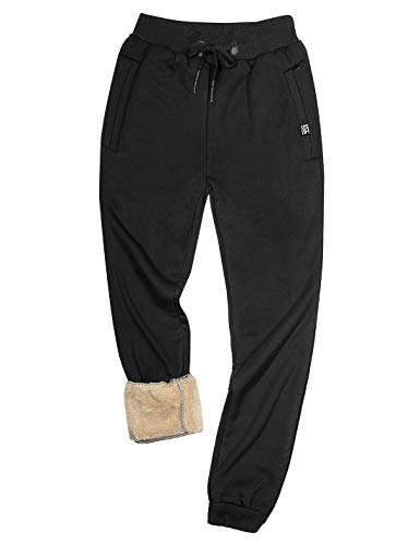 Gihuo Men's Sherpa Lined Active Sweatpants Warm Jogger Pants (Black, Medium)