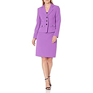 Le Suit Women's 3 Button Notch Collar Stretch Crepe Fit & Flare Skirt Suit with Pockets