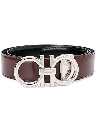 Salvatore Ferragamo Double Gancini - Cinturón reversible con hebilla de plata, color marrón y negro, talla 105/42