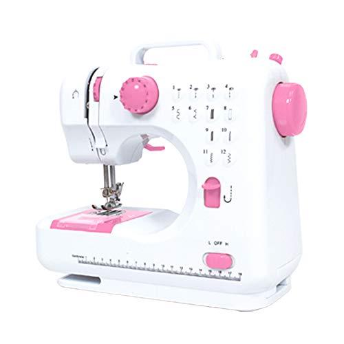 ミシン 本体 糸セット 電動ミシン 12種類の縫い模様 コンパクト電動ミシン 電子ミシン コンピューターミシン 機能充実 簡単操作 フリーアーム (ピンク)