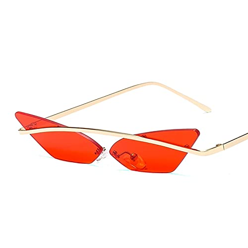 Gafas de Sol de Moda Unisex Multicolor Multicolor Pequeño triángulo Gafas de Sol Vintage Mujeres Cateye Eyewear Sin Marco Sunglass (Color : 3, Size : G)