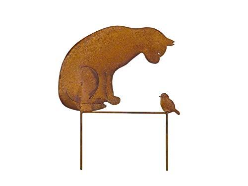 Décoration de Jardin en métal avec Motif Chat et Oiseau Marron