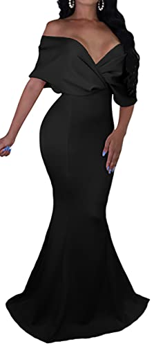 GOBLES Women Sexy V Neck Off The Shoulder Evening Gown Fishtail Maxi Dress (XL, Black)