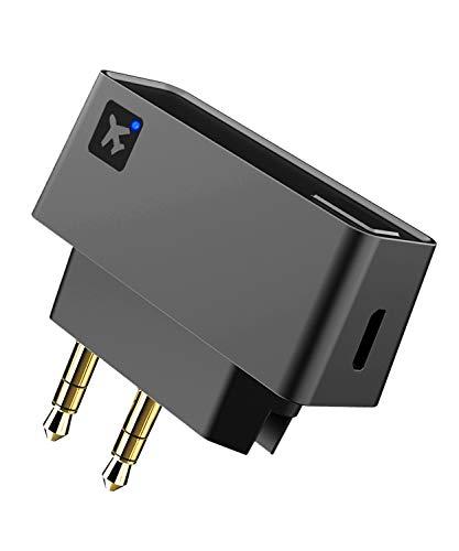 ZIOCOM Bluetooth-Sender für TV, drahtloser Flugadapter mit doppeltem 3,5-mm-Eingang, integrierter Akku für 7,5-Stunden-Spielzeit, kompatibel mit TV, PC,Flugzeug,Bluetooth-Lautsprechern und Kopfhörern