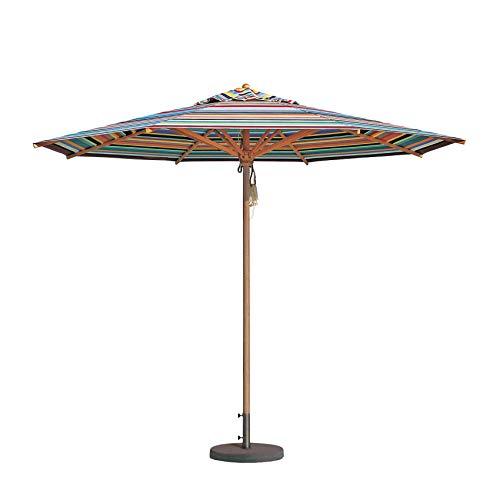 Weishäupl Klassiker Sonnenschirm Ø300cm, Multicolor Acryltuch H 273cm mit Flaschenzug ohne Schirmständer Gestell Massive Esche Ø5,3cm