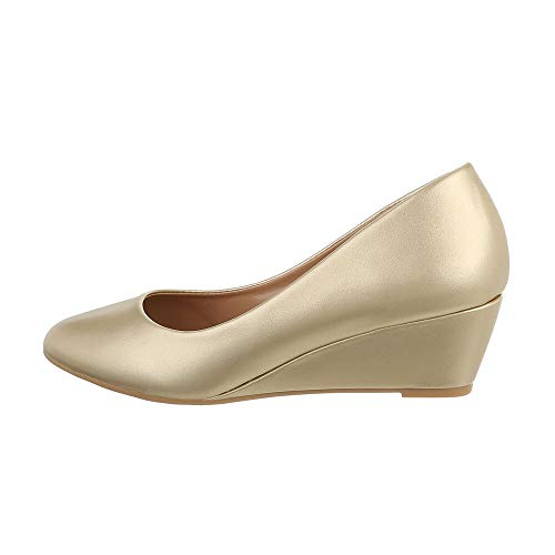 Ital Design Damenschuhe Pumps Keilpumps, 5342-, Kunstleder, Gold, Gr. 40