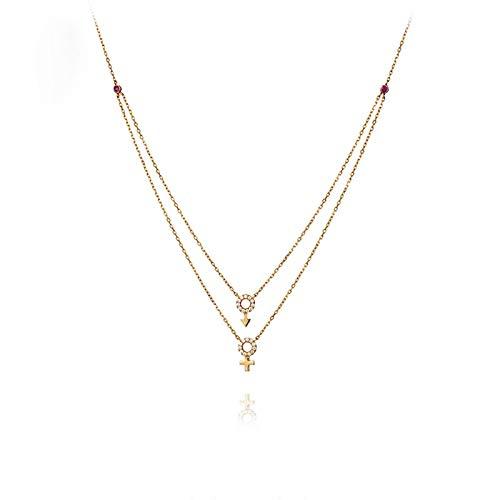 KnSam Oro Collar, Símbolo de Género Form Diamante Rubí Oro Cadena Groß 18K 750 Oro Rojo con Diamante Collar Mujer Oro Real San Valentín Collar Rose Oro Cadena con Colgante