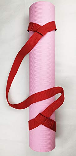 Riarbronee Yoga Mat Carrying Strap Sling,Adjustable Loops for all Mat Sizes(Mat not included) (Red)