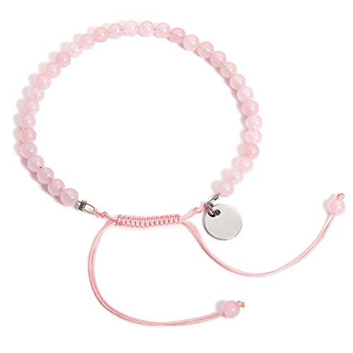 JSDDE Kundenspezifische Gravur 4mm Rosenquarz Stein Armband Geflochtenes Armreif Perlen Armband Reiki Therapie Yoga-Armband