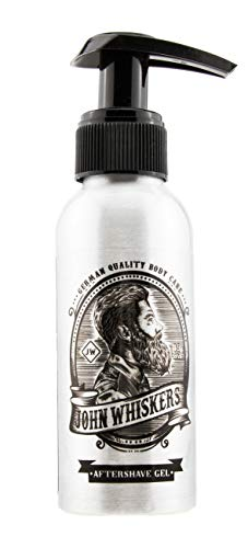 John Whiskers Aftershave Gel for Men - Made in Germany - mit Aloe Vera - für Gesicht und Kopf nach der Rasur - After Shave für Herren