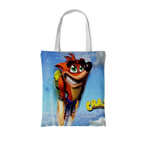 RomantiassLu Bolso de hombro de lona Crash wolf game character Bolso tote grande de lona Bolso de compras de algodón con un solo hombro, bolso de playa, bolsas de regalo