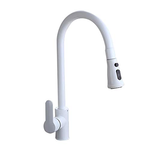 Lovedima Contemporary High-Arc 360 Degree Swiveling Pullout Sprayer Kitchen Faucet with Dual Function (White)