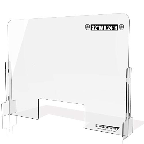 GUARDMATE | Premium Plexiglass Shield Commercial Grade Sneeze Guard | DUAL-LOCK Design 32'W x 24'H Acrylic Divider Protection Portable Plastic Barrier Shield Reception Desk Cashier Checkout Counter