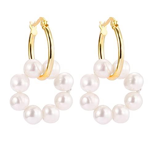 Hellery Pendientes de aro pequeños con Encanto Pendientes Colgantes de Perlas de Plata de Ley 925 para Mujeres y niñas