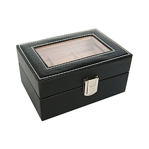 Jewelry Storage Box, Women Travel Jewelry Case PU Jewelry Box High Capacity Jewelry Box with Glass Lid Metal Button for Ring Jewelry Storage-Black-a  16x10.5x7.5cm