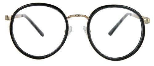 amashades Vintage Nerdies Classic Nerdbrille filigrane Pantobrille Retro Hornbrille mit Metallbügel (Schwarz)