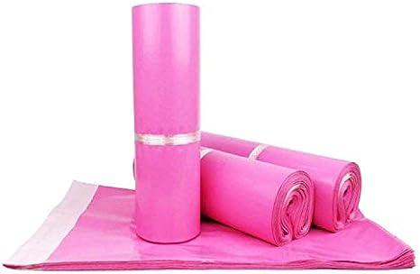 Sipobuy 100 Unidades De Bolsas De Correo Postal Express, Paquete De Sellado De Material PE, Bolsas De Correo, Sobres De Correo, Impermeables Y Resistentes A La Humedad (Pink,25X35cm / 10X14in)
