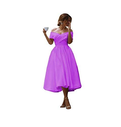 DDWW Wedding Dress Off Shoulder Prom Dresses Satin Bridesmaid Dresses with Cap Sleeves Lilac, 10