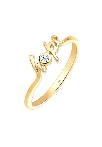 Elli PREMIUM Ring Damen Hope-Schriftzug mit Diamant (0.03 ct.) in 585 Gelbgold