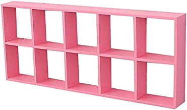 Strong Sturdy Wood Wall Rack Lattice Storage Shelf Wall Decoration (Color : YELLOW),Colour:Blue (Color : Pink)