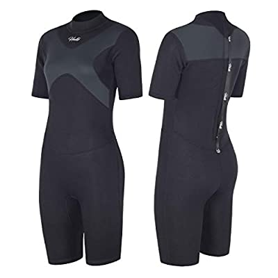 Hevto Shorty Wetsuits X Women 3mm Neoprene Scuba Diving Suits Surfing Swimming Short Sleeve Back Zip (X-Women Gray, S1)