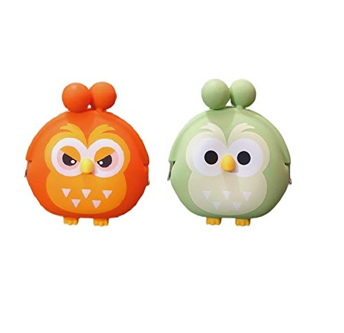 GeekGoodies Pack of 2 Silicone Owl Coin Purse Mini Pouch/Bag/Car Key Case- 2 pc (Green and Orange)