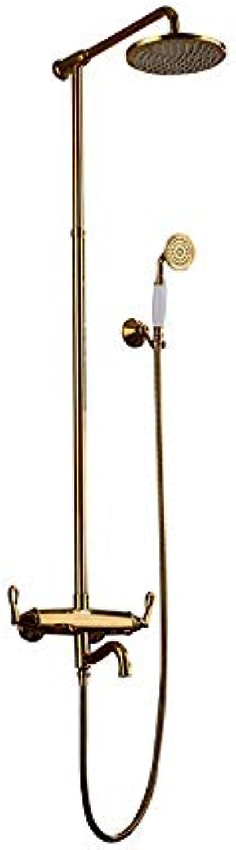 WENYAO Gold Messing Duschset Europisches Duschset Badezimmer für Mdchen Wandmontage Badezimmer Handbrause Thermostat Brausegarnitur (Farbe  Gold)