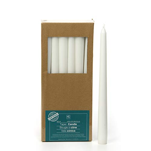 Hosley Set of 12 White 10 Inch High Unscented Taper Candles. Wax Blend. Ideal for Wedding Church Vigil Emergency Lanterns Spa Aromatherapy Party Reiki Candle Garden O4