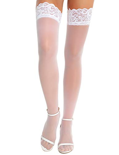RSLOVE Women Anti-skid Silicone Lace Silk Thigh High Stockings White