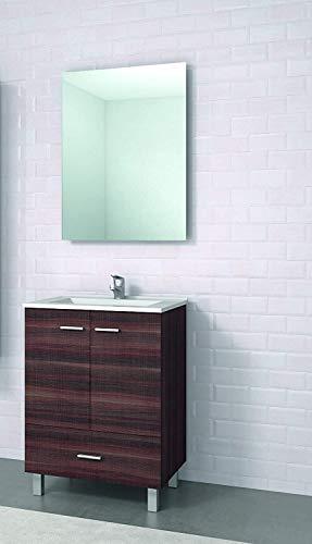 Conjunto de Mueble de baño con Patas y Lavabo de Porcelana y Espejo - 2 Puertas y 1 Cajón amortiguado - El Mueble va MONTADO - Modelo RAKI (60 cms, Tea)