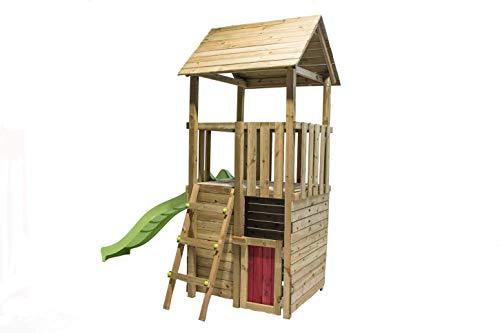 MASGAMES - Tibidabo - Box per bambini con casetta in legno (Duplex) e scivolo