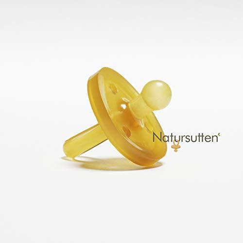 ✪ Natursutten Original Schnuller | 100% Naturkautschuk | Sauger | runde Form | EINFACH ZU SÄUBERN | Enthält KEINE Phthalate, PVC, chemische Weichmacher oder künstliche Farbstoffe | Klein | 0-6 Monate