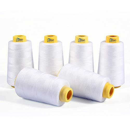 6 Spools of White Thread 3000 Yard Each, Serger Thread Cones, White Sewing Machine Thread, All Purpose Sewing Thread 100% Spun Polyester, Overlock Thread for Serger Sewing Machine